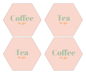 Coffee Or Gin Hexagonal Coaster Set