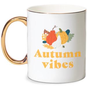 Autumn Vibes Bone China Gold Handle Mug