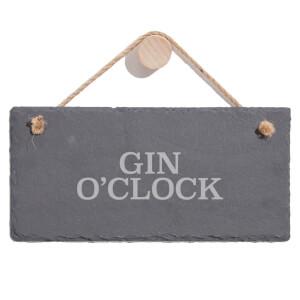 Gin O'Clock Engraved Slate Hanging Sign