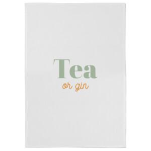 Tea Or Gin Cotton Tea Towel - White