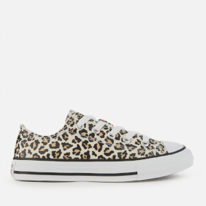 Converse Kids' Chuck Taylor All Star Leopard Print Ox Trainers - Black/Driftwood