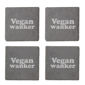 Vegan Collection 2020 Vegan Wanker Engraved Slate Coaster Set