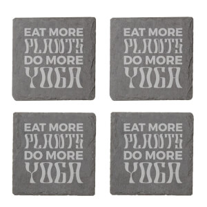 Vegan Collection 2020 Eat More Plants Do More Yoga Engraved Slate Coaster Set