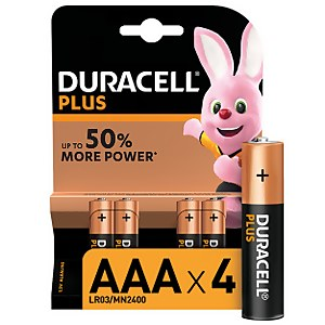 Duracell Plus AAA Batteries - 4 Pack