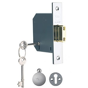 Yale PM552 5 Lever Deadlock 78mm - Chrome