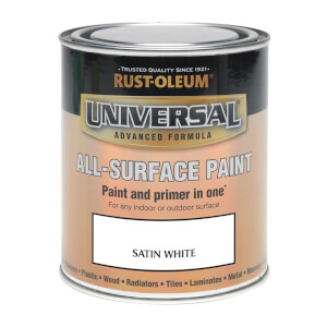 Rust-Oleum Universal All Surface Satin Paint & Primer - White - 250ml