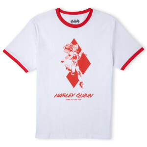 Batman Villains Harley Quinn Unisex Ringer T-Shirt - White / Red