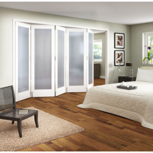 Obscure Glazed White Primed 5 Door Internal Room Divider - 3158mm Wide