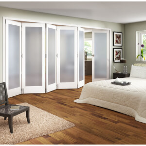 Room Divider Obscure Glazed White Primed - 6 Door - 3771mm Wide