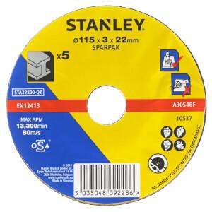 Stanley 115mm Metal Cutting Disc Pack - STA32800-QZ