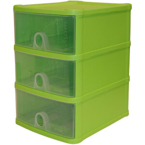 Handy Drawers-  Set of 3 - Lime & Clear