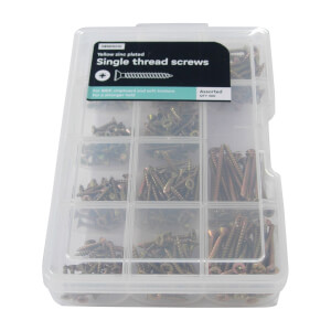 Single Thread Screw Kit - Yellow Zinc Plated - Assorted - 300 Pack