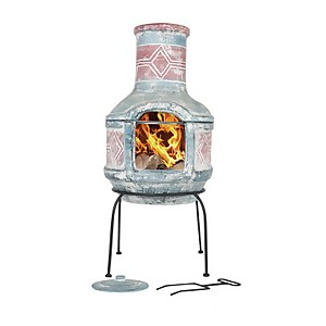 La Hacienda Geometric Two Piece Clay Chimenea - Medium