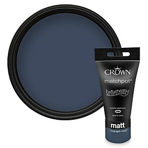 Crown Feature Wall Breatheasy Midnight Navy - Matt Paint - 40ml Tester