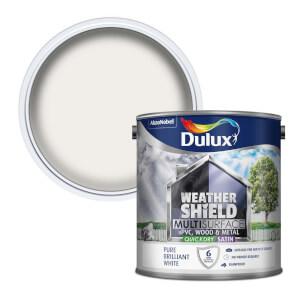 Dulux Weathershield Multi Surface Quick Dry Satin Paint - White - 2.5L