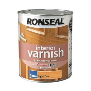 Ronseal Interior Varnish Satin Light Oak - 750ml