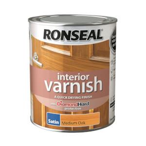 Ronseal Interior Varnish Satin Medium Oak - 750ml