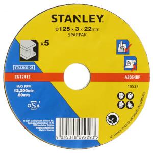 Stanley 125mm Metal Cutting Disc Pack - STA32033-QZ