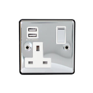Arlec Metal Screwed 13 Amp 1 Gang Switched Socket with 2 x 2.1 Amp USB Polished Chrome