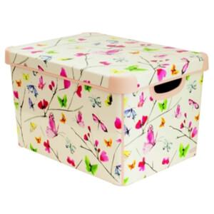 Curver Stockholm Butterflies Plastic Deco Storage Box, Multi Colour 22L