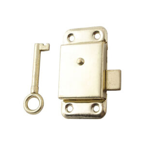 Cupboard Lock - Brass Plate - 50mm