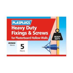Plasplugs HD Plasterboard & Screws - 5 pack
