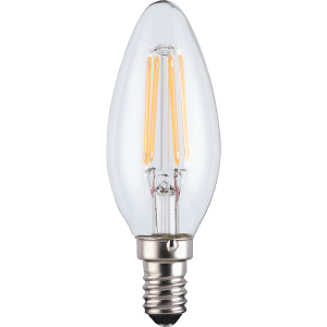 TCP LED Filament Clear Candle 4W E14 Light Bulb - 3 pack
