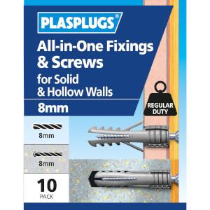 Plasplugs 8mm Multi Purpose & Screws x 10