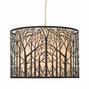Forrest Laser Cut Tree Pendant Light Shade - Black and White