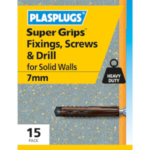 7mm Brwn Plugs/ Screws/ Drill 15 Pk