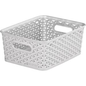 Curver My Style Small Rectangular Plastic Storage Basket - Grey - 4L