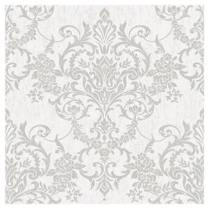 Superfresco Easy Paste the Wall Victorian Damask Wallpaper - Silver
