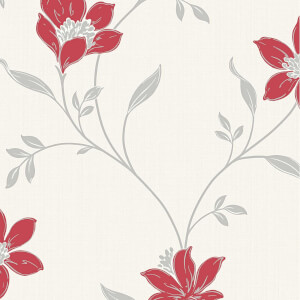 Superfresco Amelia Floral Red & Silver Wallpaper