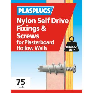 Nylon Self Drive Fixings & Screw - 75 Pack