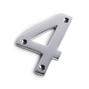Chrome Screw Fixing House Number - 100mm - 4
