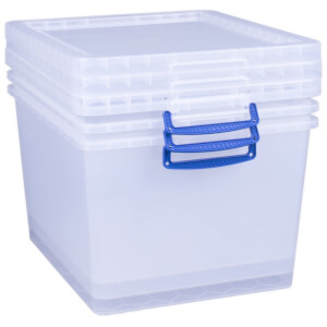 Really Useful Storage Box - Clear - 33.5L - 3 Pack
