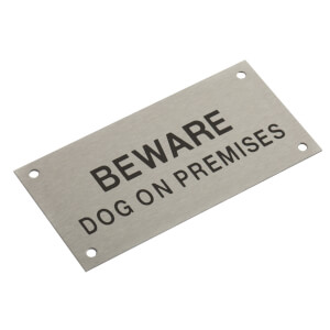 Stainless Steel Beware Dog On Premises Sign - 95 x 47mm