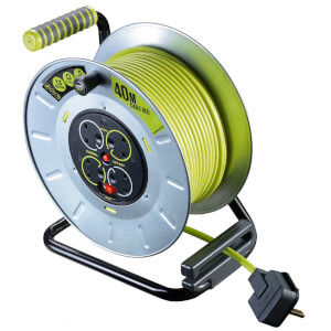 Masterplug Pro XT 4 Socket Cable Reel 40m Green/Grey
