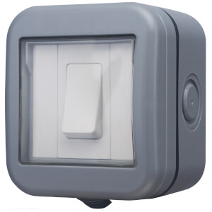 BG 10 Amp 1 Gang 2 Way Weatherproof Switch IP55 Rated Grey
