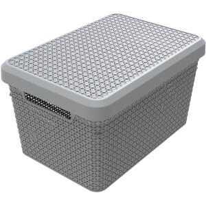 Ezy Storage Mode 17L Storage Basket with Lid - Grey