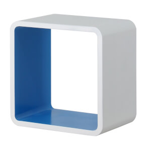 Cube Wall Shelf - White and Blue