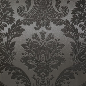 Belgravia Decor Damasco Damask Embossed Metallic Black Wallpaper