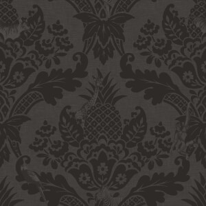 Holden Decor Bengal Black Damask Smooth Wallpaper