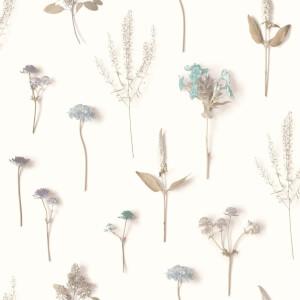 Grandeco Floral Stem Aqua Wallpaper