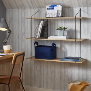 3 Tier Shelf Kit - Sanoma Oak & Black Bracket