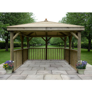Forest (Installation Included) Timber Roof Square Gazebo No Floor - 3.5m