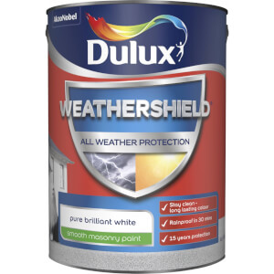 Dulux Weathershield All Weather Smooth Masonry Paint - Pure Brilliant White - 5L