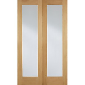 Pattern 20 Internal Glazed Unfinished Oak 1 Lite Pair Doors - 915 x 1981mm