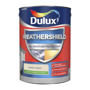 Dulux Weathershield All Weather Smooth Masonry Paint - Classic Cream - 5L