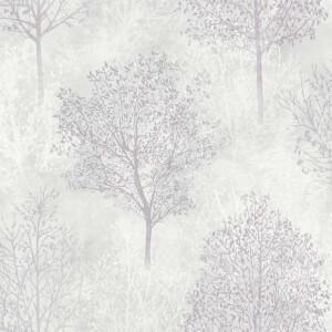 Arthouse Silva Woods Tree Embossed Grey and Mauve Wallpaper